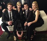 Jennifer Lawrence shared a photo of herself with her Catching Fire costars — Liam Hemsworth, Josh Hutcherson, and Elizabeth Banks — at the film's premiere in Paris. Source: Facebook user Jennifer Lawrence