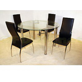 Heartlands Furniture Munich Extending Glass Dining Table with 4 Lazio Chairs