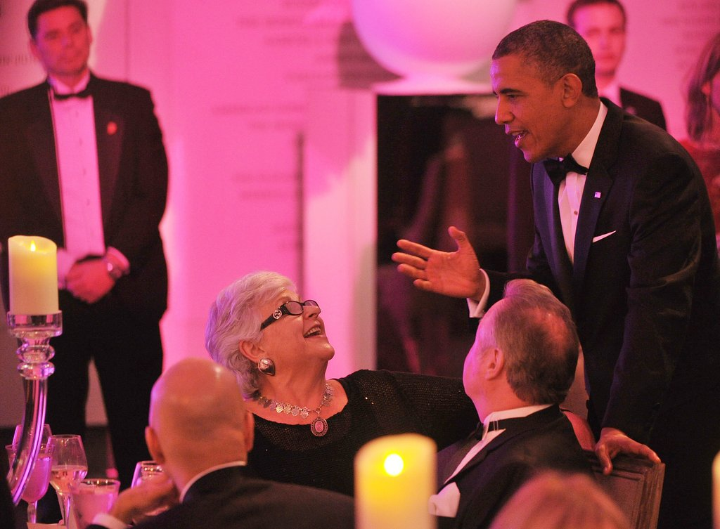 President Obama greeted guests at the dinner event.