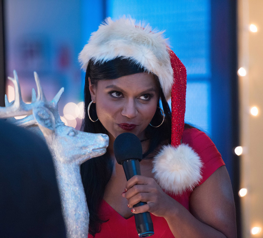 Mindy rocks a sexy Santa look.