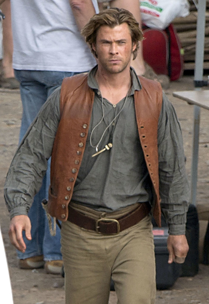 Chris Hemsworth was a convincing tough guy on the set of In the Heart of the Sea in Spain on Wednesday.