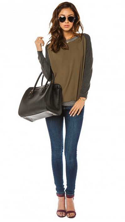 This Sosie Jeffries Sweater ($39) is an easy top with great seasonal color.