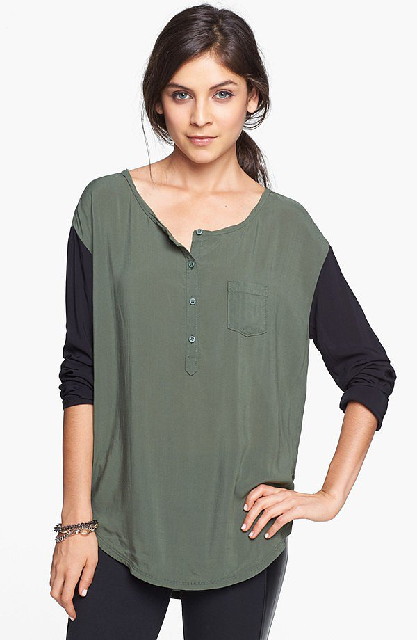 Update your long-sleeved tees with a cool Rubbish Woven Henley Top ($42).