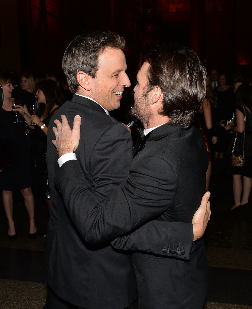 Seth Meyers and Will Forte shared a hug during the event.