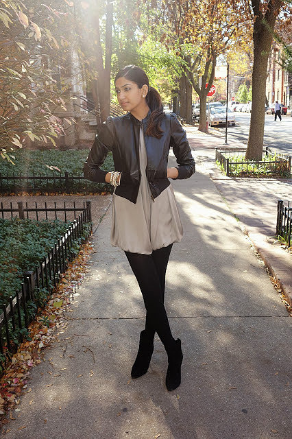 Congrats, duodujour! A leather jacket is one of our favorite pieces for day or night, and this look is a case in point.