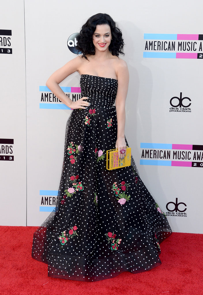 Katy Perry wore a polka-dot floral gown.