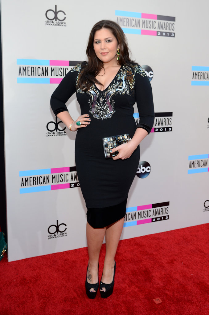 Lady Antebellum's leading lady, Hilary Scott, wowed in an embellished LBD and a matching Swarovski crystal clutch.