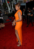 Jennifer Hudson wore an orange dress.