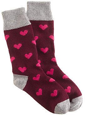 CorgiTM for J.Crew cashmere bordeaux heart socks
