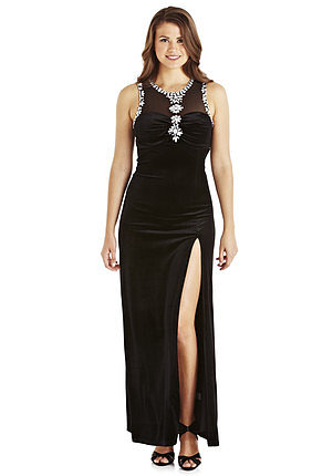Ice Blossom Embellished Velvet Maxi Dress