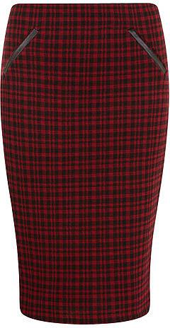 Red/ black check pencil skirt