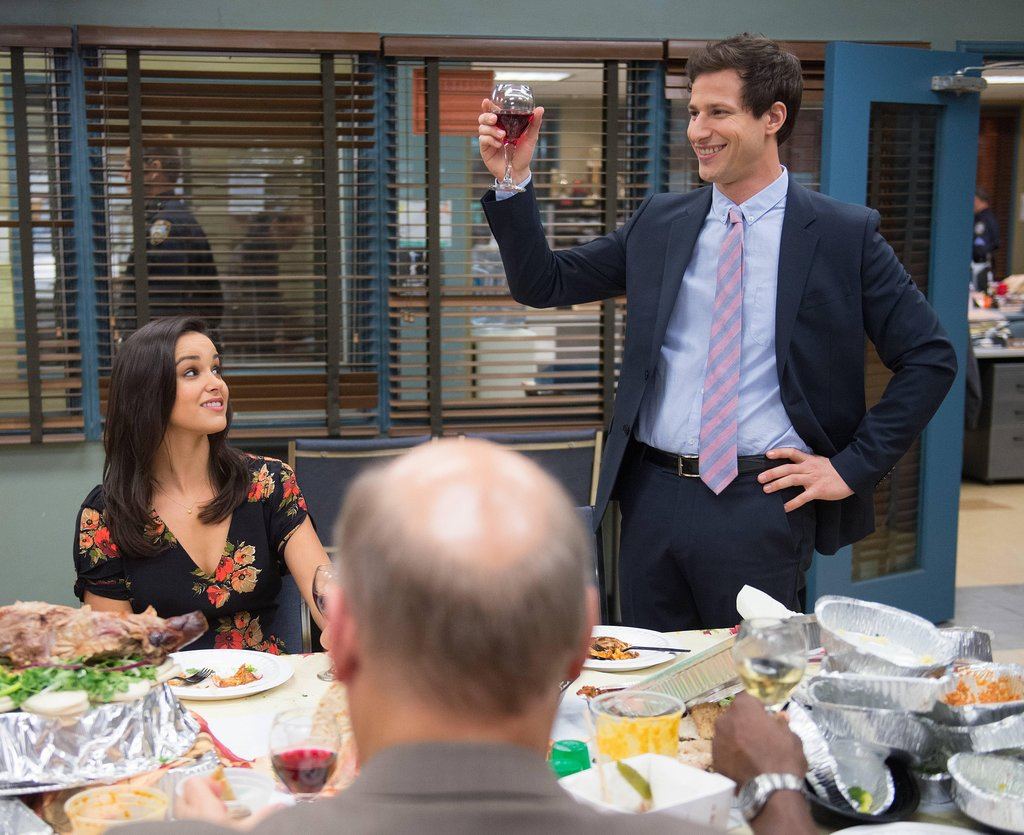 Brooklyn Nine-Nine Jake (Samberg) gives a holiday toast.