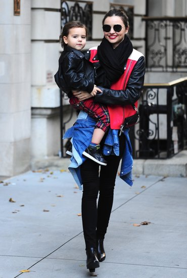 Miranda was spotted looking sporty in a red, white, and black jacket while out with her son, Flynn.
