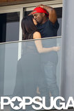 In February, Kim Kardashian gave Kanye West a kiss when they visited Rio de Janeiro together.