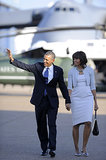 The Obamas held hands tightly as they arrived in Dallas this past April.
