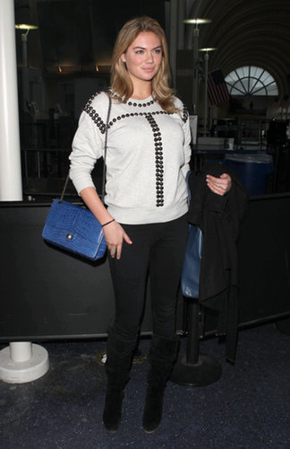 Kate Upton's sweatshirt wasn't your average style, boasting a geometric splashing of studs. The luxe blue bag was a nice finishing touch.