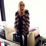 Rachel Zoe broke out her Isabel Marant coat for cold LA weather. Source: Instagram user rachelzoe