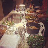 "Mindy Kaling shared this photo with the caption, ""Tandoori turkey, keema curry, chapati, eggplant, South Indian coconut green beans, eggplant, salad, rice, sweet potato streusel #oahu #indianThanksgiving #aloha.""  Source: Instagram user mindykaling"