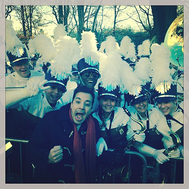 Questlove captured Jimmy Fallon sharing a moment with band members at the Macy's Thanksgiving Day Parade in NYC. Source: Instagram user questlove