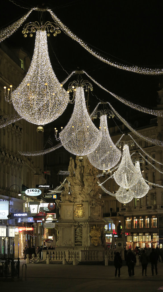 In Vienna, Austria, Christmas lights hung in the streets.