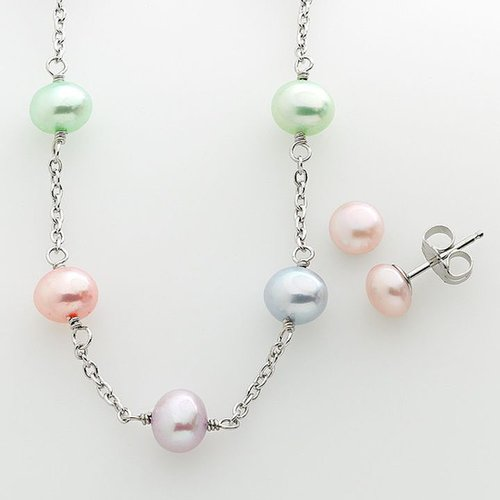 Sterling silver dyed freshwater cultured pearl station necklace & stud earring set - kids
