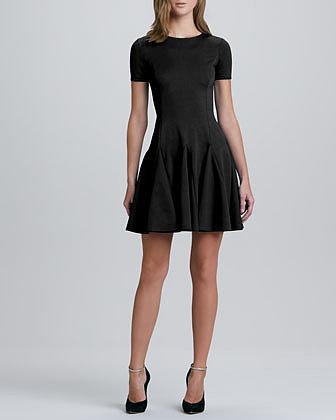 Halston Heritage Flare Skirt Ponte Dress, Black
