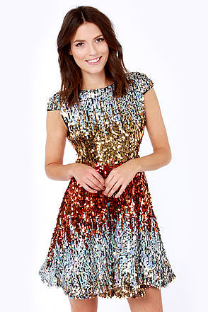 News Flash Red Multi Sequin Dress