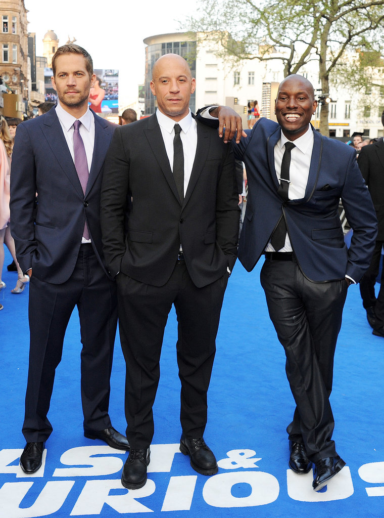 Paul Walker suited up alongside Vin Diesel and Tyrese Gibson for the London premiere of Fast & Furious 6 in May 2013.