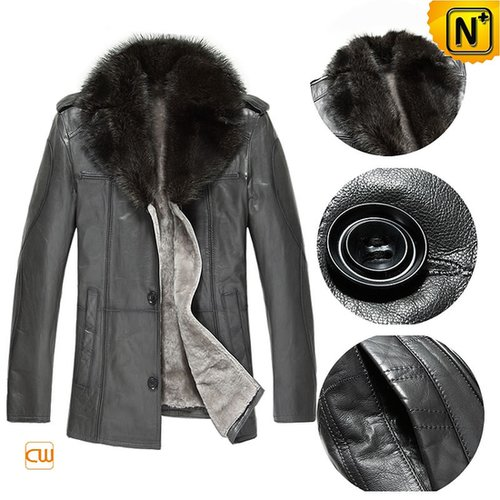 Mens Sheepskin Coat with Fur Collar CW877211