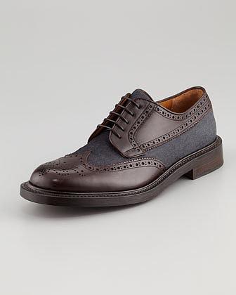 Salvatore Ferragamo Tosco Leather & Denim Oxford