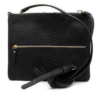 "GiGi New York ""Cross-Body"" Black Embossed Python Leather Handbag"