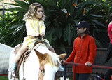 Jason Schwartzman watched as his daughter, Marlowe, rode a horse at the Farmers Market in LA.