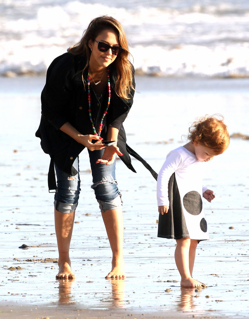Jessica Alba and her daughter Haven played near the waves in Malibu.