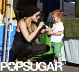 Selma Blair dipped in for some of Arthur Bleick's snack at the Farmers Market in LA.