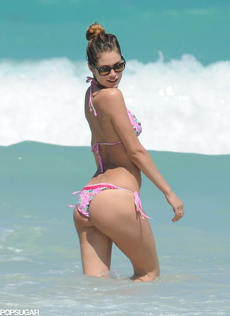 In April, Doutzen Kroes playfully posed in the water during a beach trip with her family in Miami.