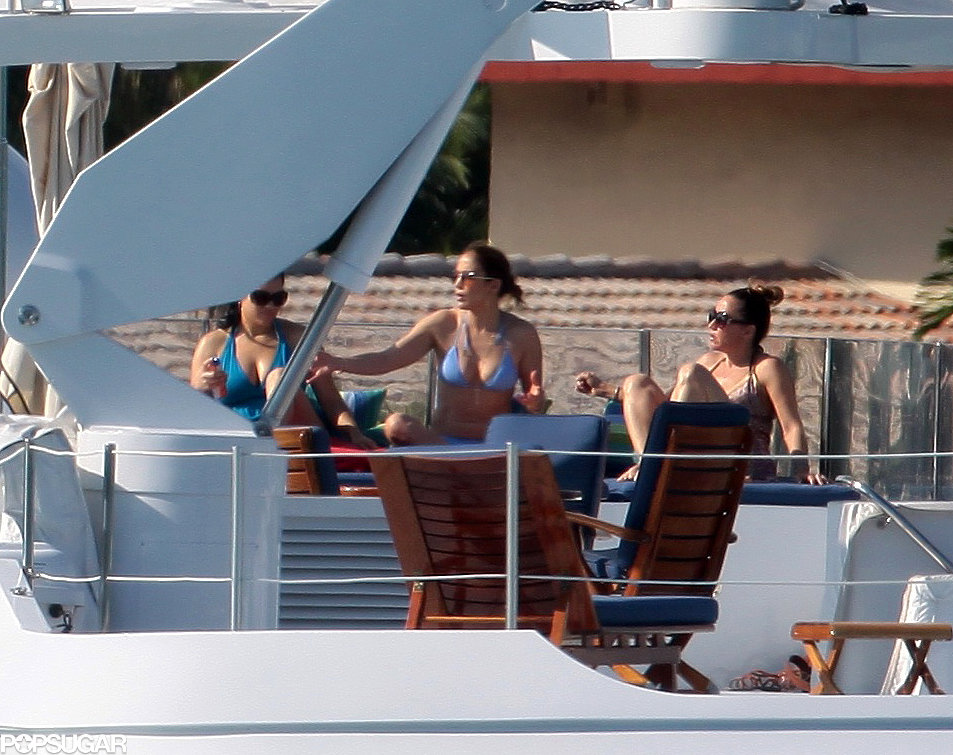 Jennifer Lopez wore a purple bikini during a boat trip in Miami back in January.
