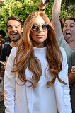 We never imaged Lady Gaga as a redhead, but this long style looked good with her pared-down makeup palette.