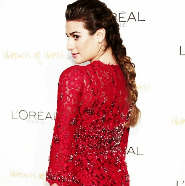 We can't wait to copy Lea Michele's gorgeous braided hairstyle. Source: Instagram user msleamichele