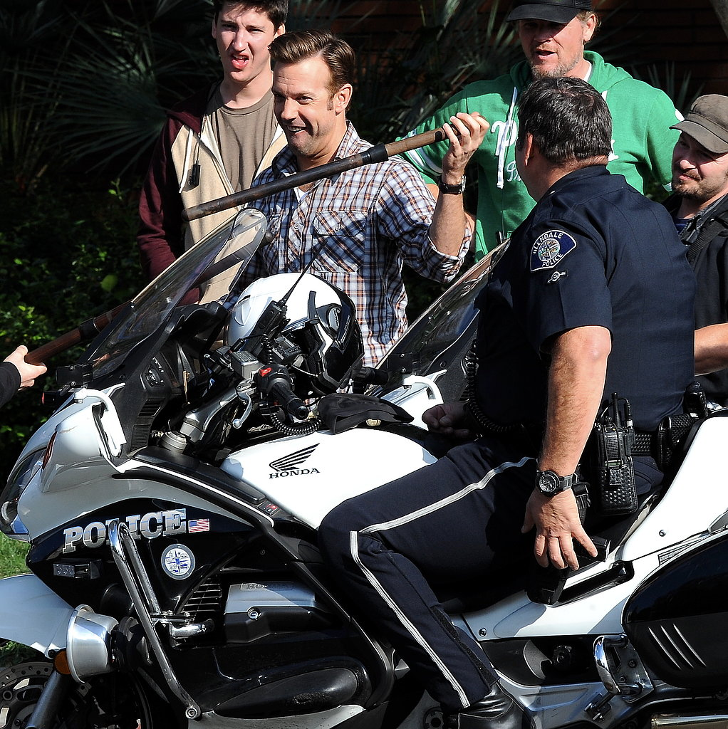 Jason Sudeikis got silly with props while filming scenes on the Horrible Bosses 2 set in LA on Tuesday.