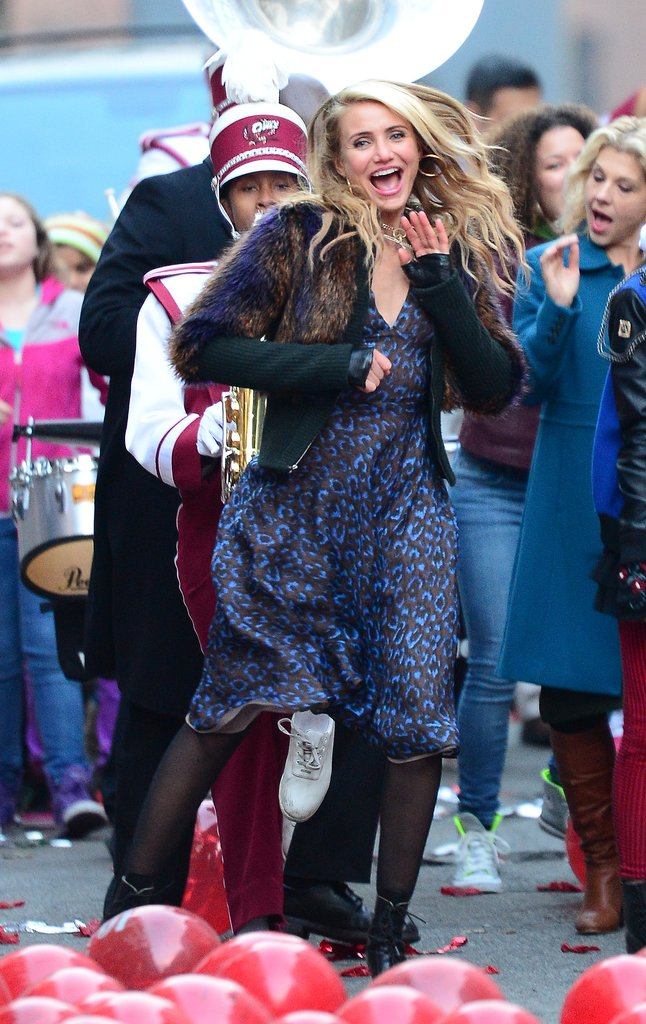 Cameron Diaz danced with a marching band on the set of Annie in NYC on Monday.