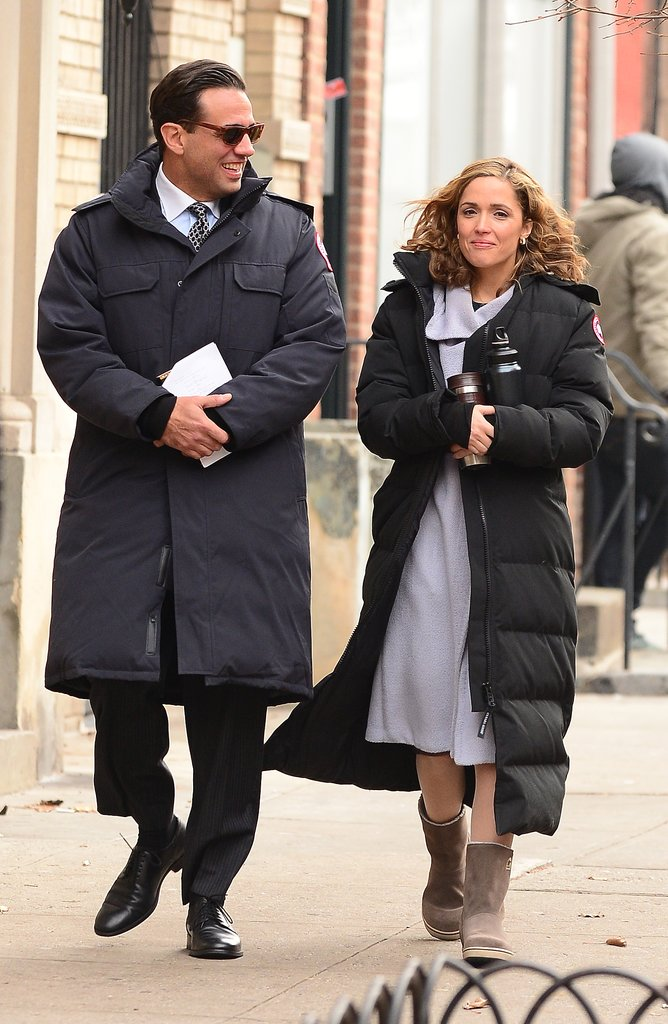 Rose Byrne and Bobby Cannavale shared a moment during production of Annie in NYC on Tuesday.