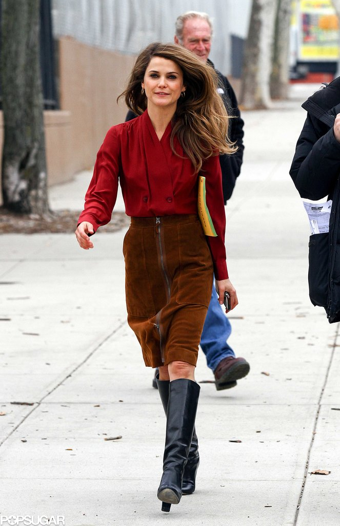 Keri Russell was back in an '80s-inspired ensemble on the set of The Americans in NYC on Monday.