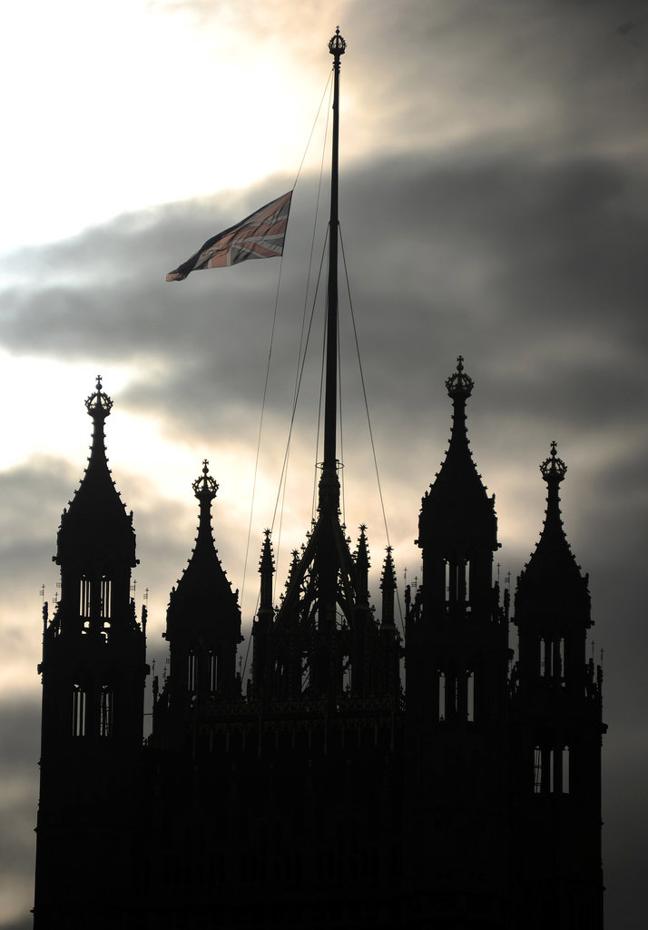 The Union Jack flag flew at half mast on the Victoria Tower in London.