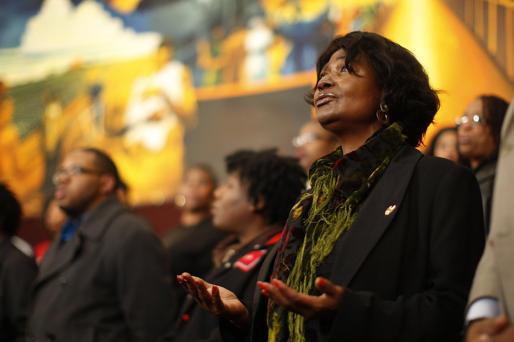People sang the South African national anthem in honor of Nelson Mandela at a church in LA.