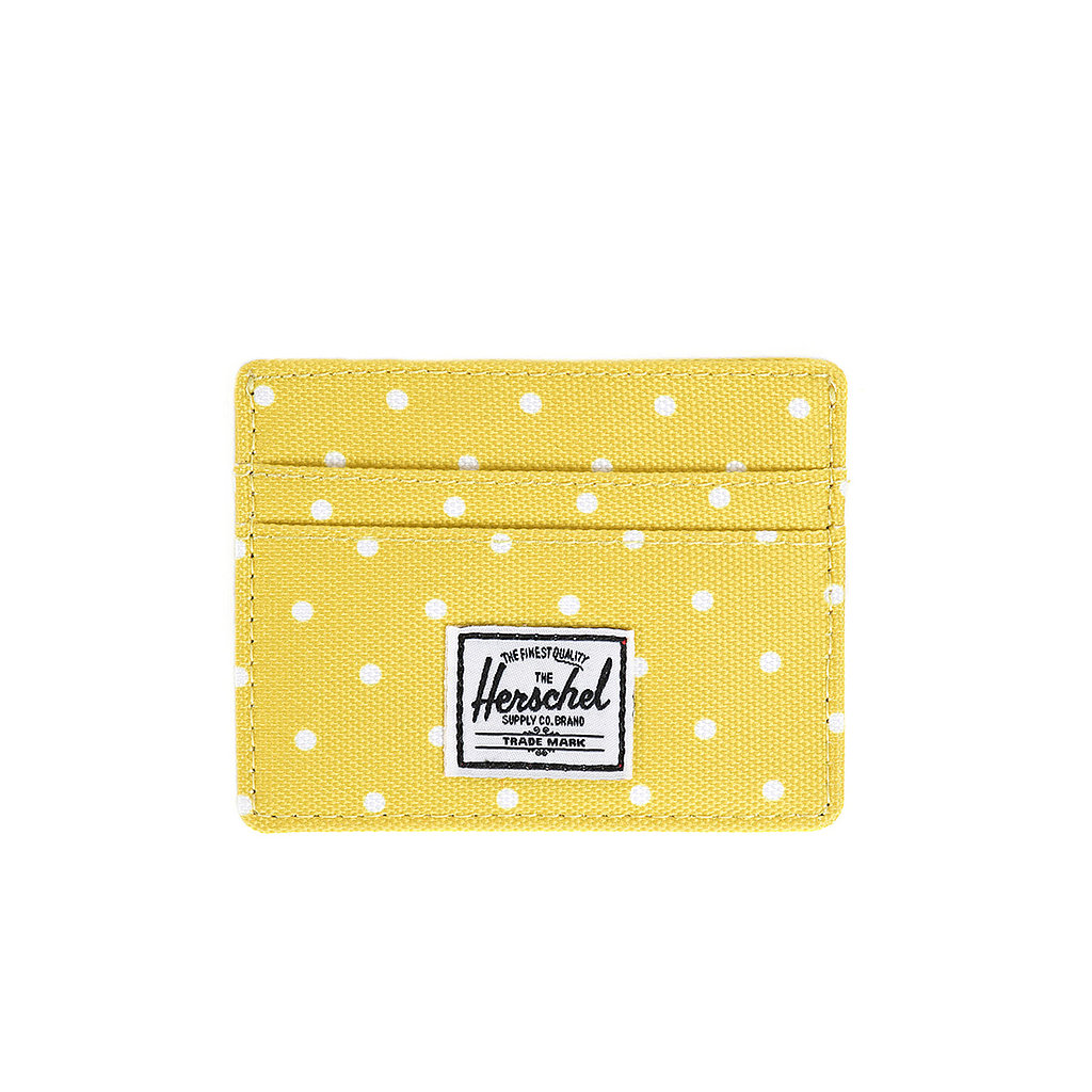 It's hard not to smile at the bright color and quirky polka dots on Herschel's card case ($20).