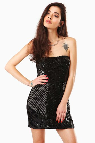 Nora Strapless Sequin Mini Dress in Black at Fashion Union