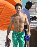 Adrian Grenier hit the beach with a smile on Friday.