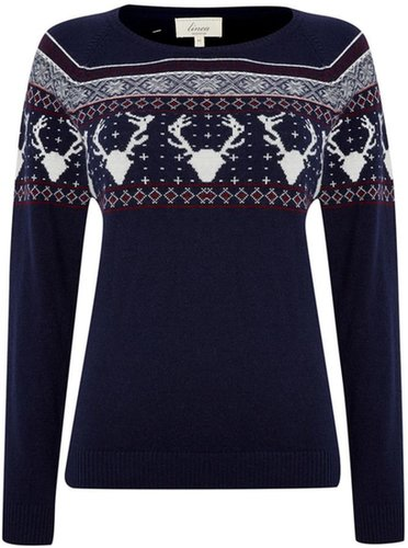 Linea Weekend Ladies reindeer pattern christmas jumper
