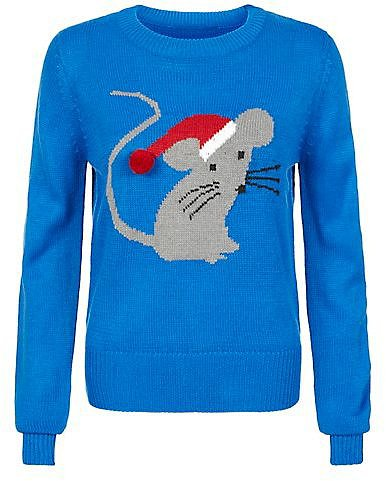 Brave Soul Blue Christmas Mouse Jumper