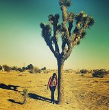 Mindy Kaling rocked red leather on a desert road trip. Source: Instagram user mindykaling